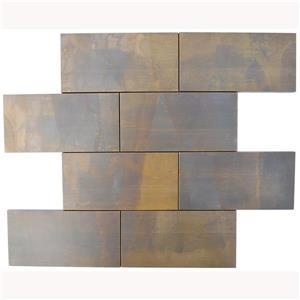 """Tuile murale & dosseret briques, cuivre antique 3""""x6"""", pq.11"""