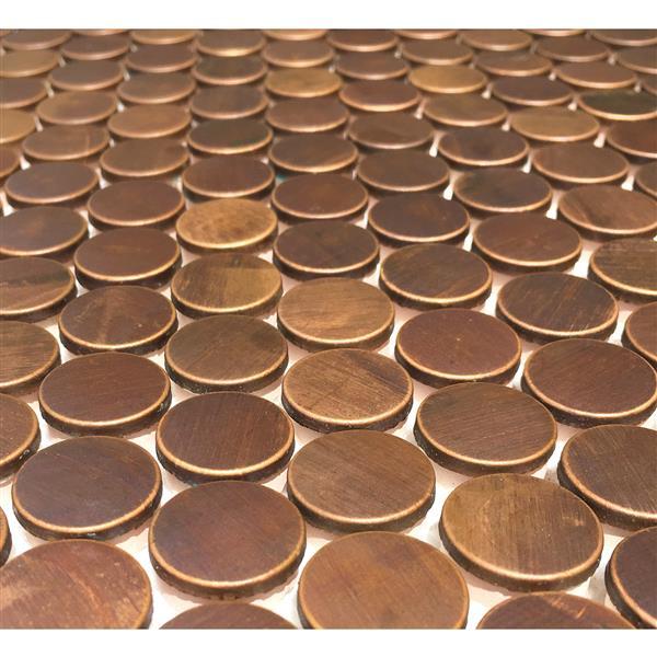 "Penny Round Antique Copper Mosaic Tile - 11-Pack - 12""x12"""