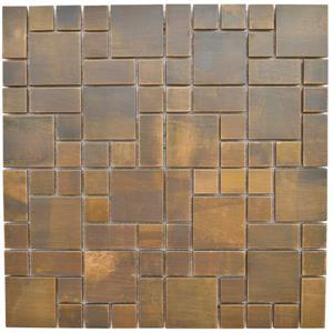 """Tuile mosaïque murale, cuivre antique, 12""""x12"""", 11/pq."""