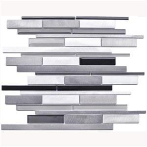 Tuile murale, Aluminium et Verre Gris Noir, 12