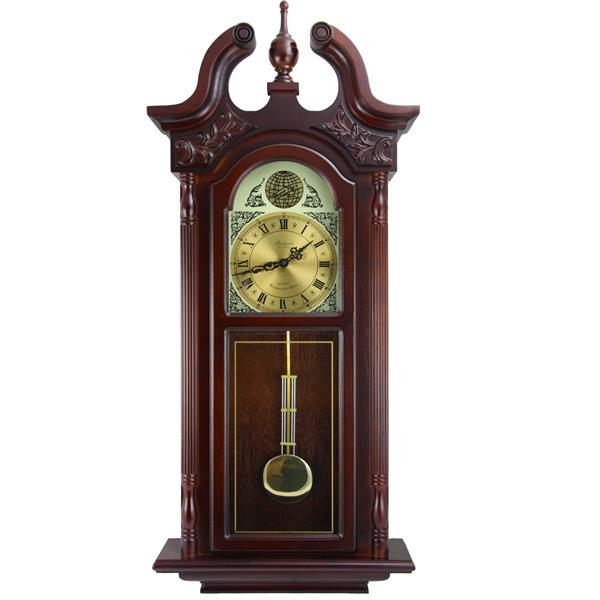 "Bedford Wall Clock - 17.25"" x 38"" - Wood - Cherrywood"