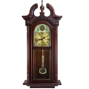 "Bedford Wall Clock - 17.25"" x 38"" - Wood - Cherrywood"