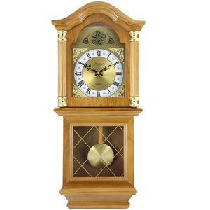 "Bedford Wall Clock - 12"" x 26"" - Wood - Golden Oak"