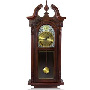 "Bedford Wall Clock - 17.25"" x 38"" - Wood - Cherry Oak"