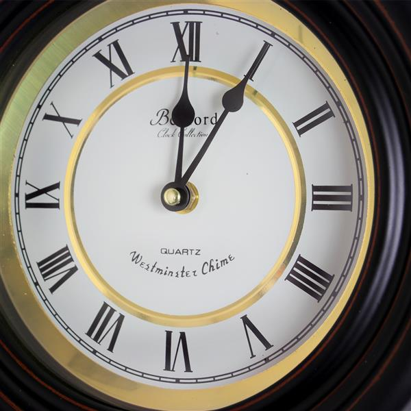 "Bedford Round Wall Clock - 9.7"" x 16.5"" - Wood - Black"