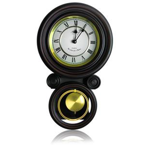 "Bedford Round Wall Clock - 9.7"" x 16.5"" - Wood - Black"