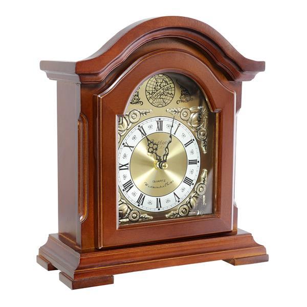 "Bedford Mantel Clock - 9.7"" - Wood - Redwood"