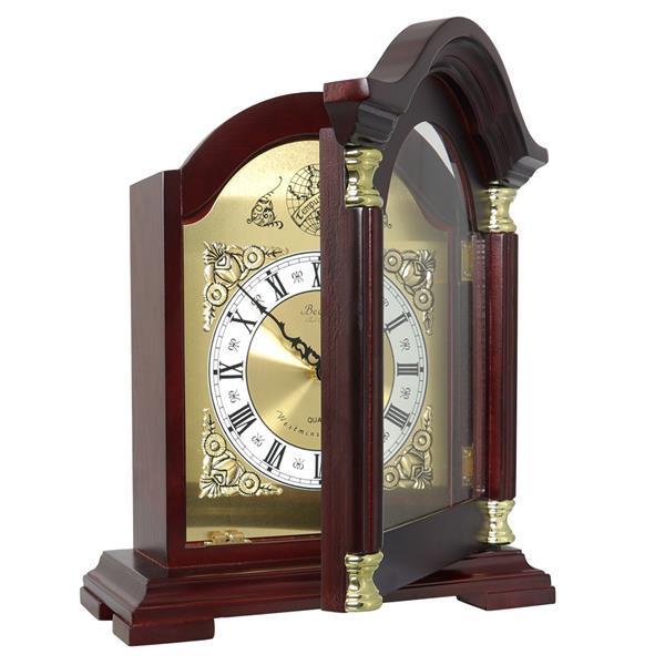 "Bedford Mantel Clock - 12"" - Wood - Redwood"