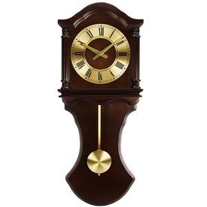 "Horloge murale avec pendule Bedford, 28"", bois, chocolat"