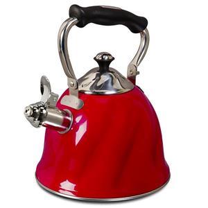 Bouilloire sifflante Alderton, acier inoxydable, rouge