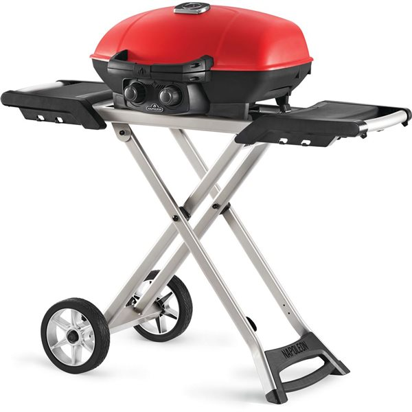 Napoleon TravelQ Portable Propane Gas Grill with Scissor Cart - Red