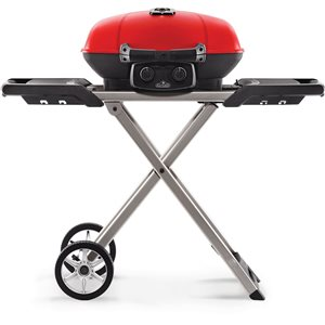 TravelQ Portable Propane Gas Grill with Scissor Cart - Red
