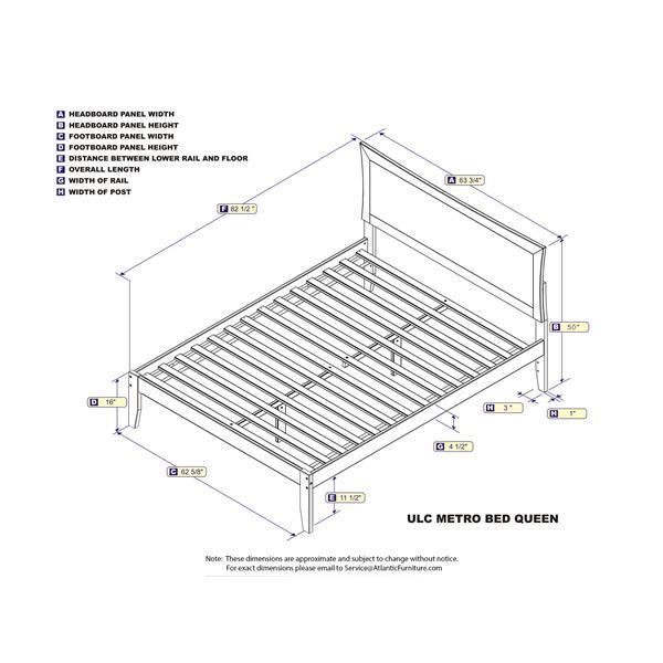 Atlantic Furniture Metro Queen Platform Bed with Open Footboard - Walnut