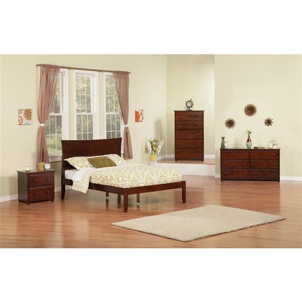 Atlantic Furniture Metro Full Platform Bed with Open Footboard - Walnut
