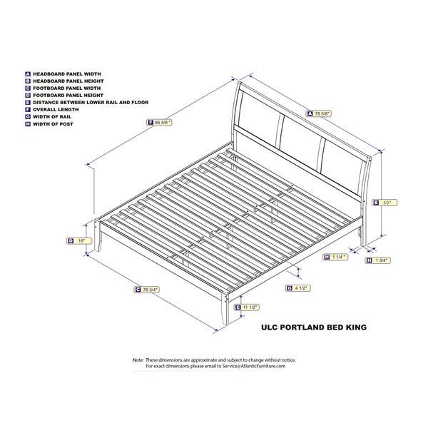 Atlantic Furniture Portland King Platform Bed with Open Footboard - Walnut