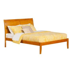Atlantic Furniture Portland King Platform Bed with Open Footboard - Caramel
