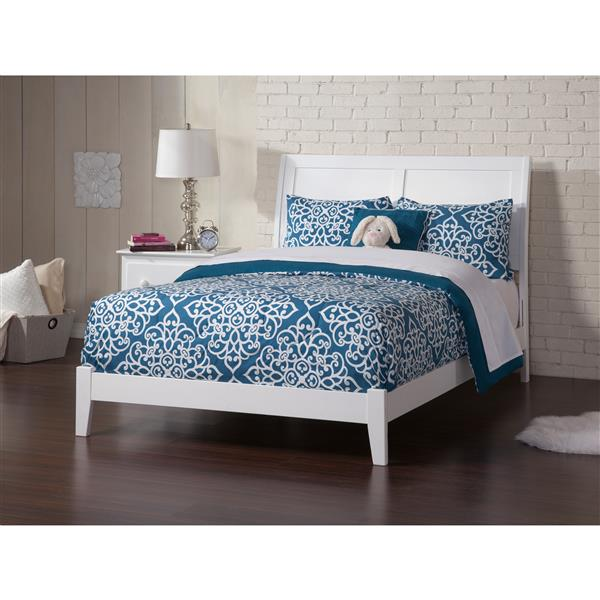 Atlantic Furniture Portland Full Platform Bed with Open Footboard - White