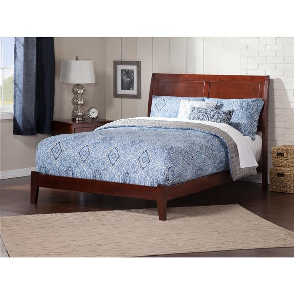 Atlantic Furniture Portland Queen Platform Bed with Open Footboard - Walnut