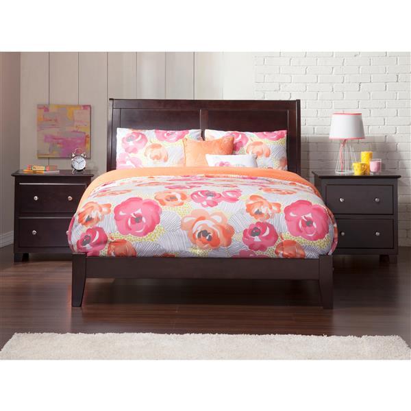 Atlantic Furniture Portland Full Platform Bed with Open Footboard - Espresso