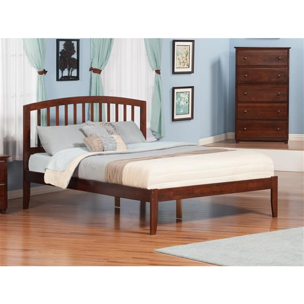 Atlantic Furniture Richmond Queen Platform Bed with Open Footboard - Walnut