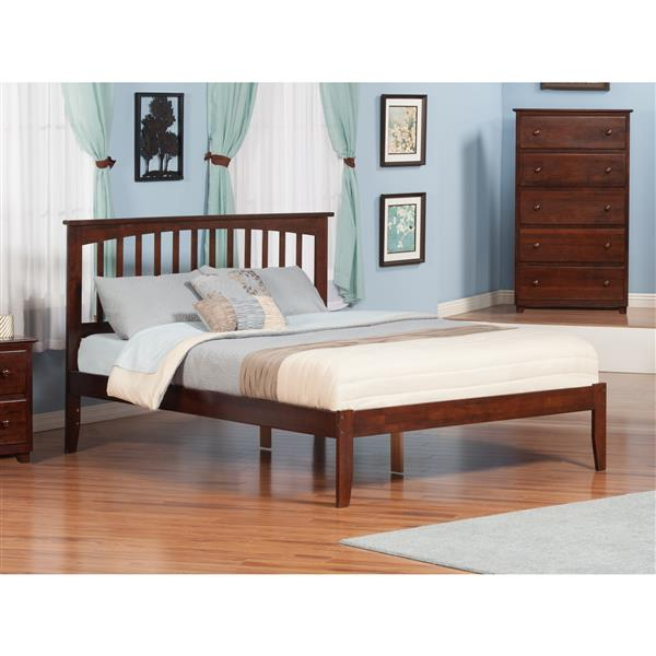 Atlantic Furniture Mission King Platform Bed with Open Footboard - Walnut