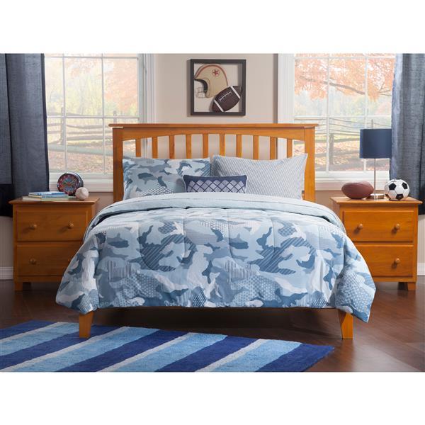 Atlantic Furniture Mission King Platform Bed with Open Footboard - Caramel