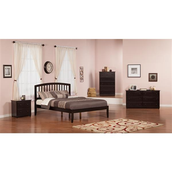 Atlantic Furniture Richmond Queen Platform Bed with Open Footboard - Espresso