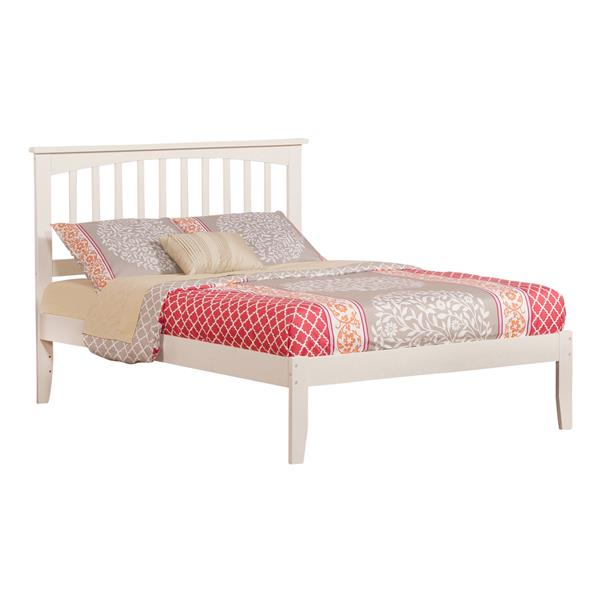 Atlantic Furniture Mission Full Platform Bed with Open Footboard - White