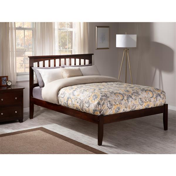 Atlantic Furniture Mission Full Platform Bed with Open Footboard - Walnut