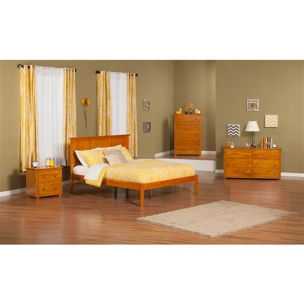 Atlantic Furniture Madison King Platform Bed with Open Footboard - Caramel