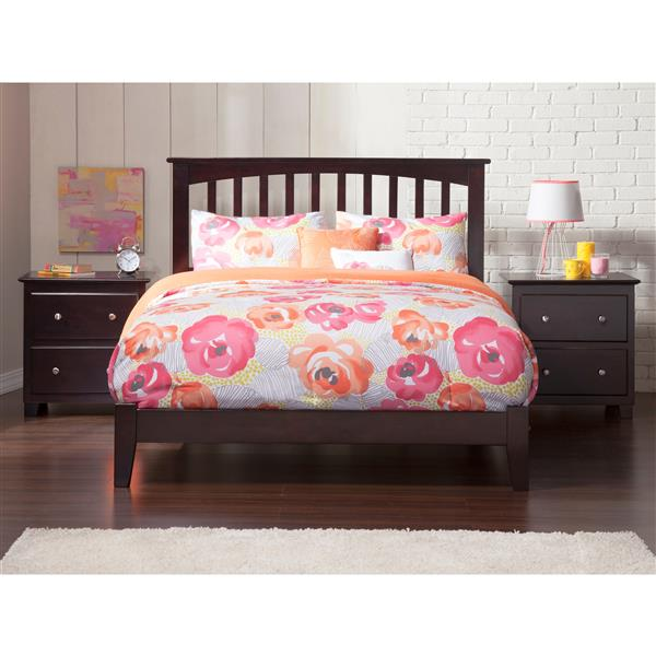 Atlantic Furniture Mission Full Platform Bed with Open Footboard - Espresso