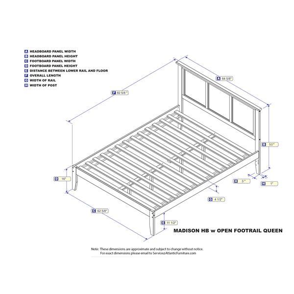 Atlantic Furniture Madison Queen Platform Bed with Open Footboard - Walnut