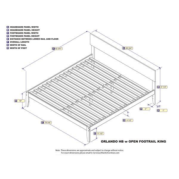 Atlantic Furniture Orlando King Platform Bed with Open Footboard  - Caramel