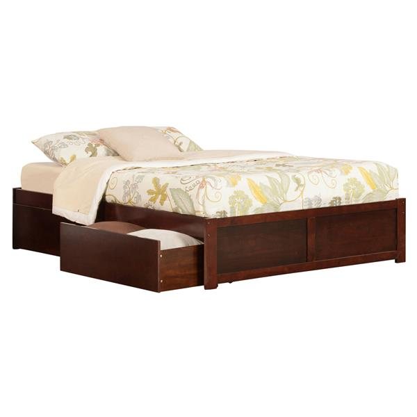 Atlantic Furniture Concord Queen Bed with Footboard and Two Drawers - Walnut