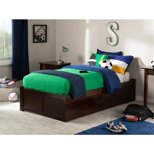 Atlantic Furniture Concord Bed with Footboard and Two Drawers - Walnut