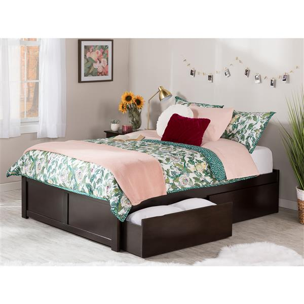 Atlantic Furniture Concord Full Bed with Footboard and Two Drawers - Espresso