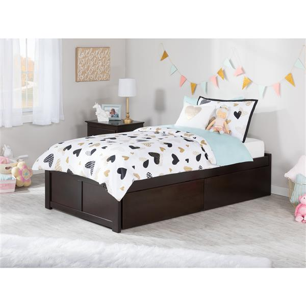 Atlantic Furniture Concord Bed with Footboard and Two Drawers - Espresso