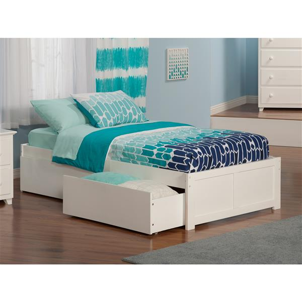 Atlantic Furniture Concord Bed with Footboard and Two Drawers - White