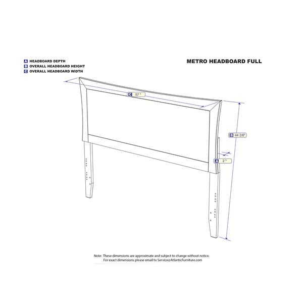 Atlantic Furniture Metro Full Contemporary Headboard - White