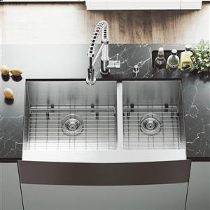 Vigo® Kitchen Sink with Grids and Strainers - 36
