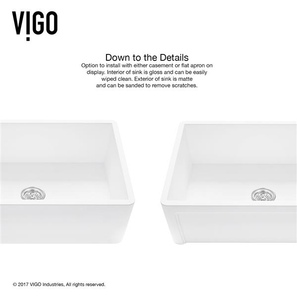 VIGO Front Kitchen Sink with Faucet and Strainer - 30-in