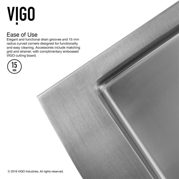 VIGO Kitchen Sink with Faucet, Grid and Strainer - 33-in