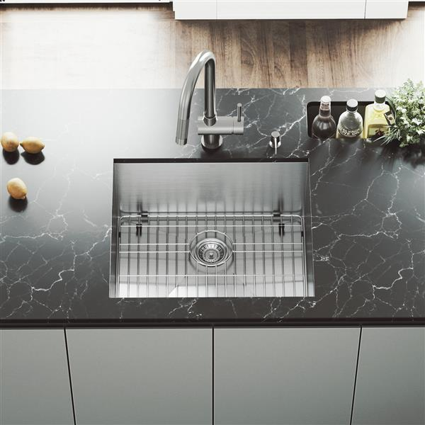 VIGO Kitchen Sink with Faucet, Grid & Strainer - 23-in X 20-in