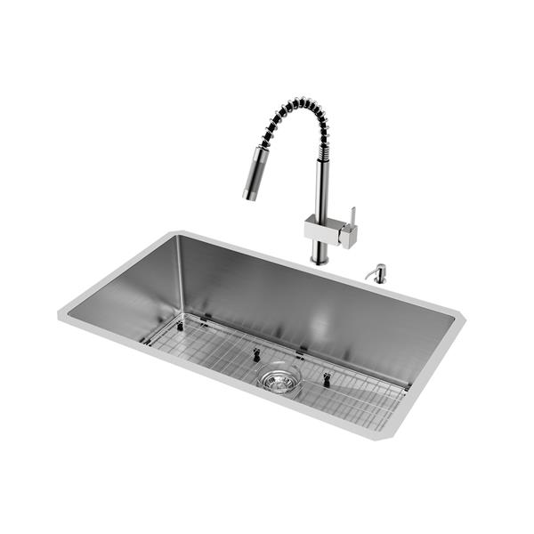 Vigo® Kitchen Sink with Faucet, Grid and Strainer - 32""