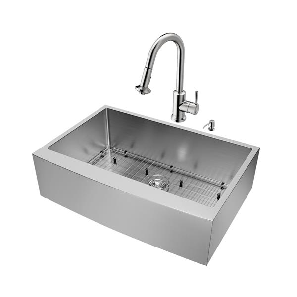 """Évier avec robinet, grille et crépine Vigo(MD), 33"""""""