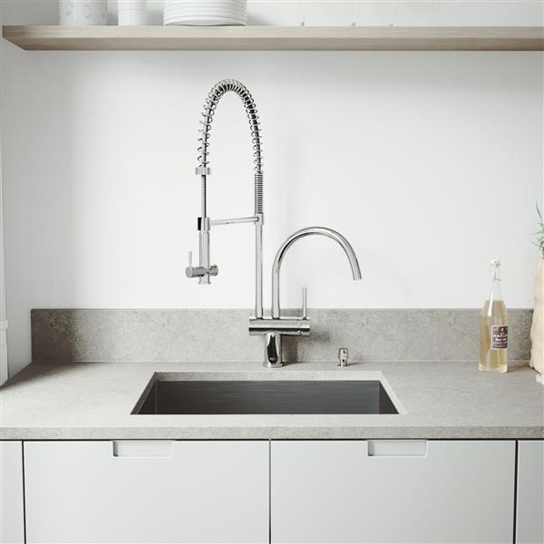 "Vigo® Kitchen Sink with Faucet, Grid and Strainer -23"" X 18"""