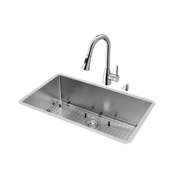 """Évier avec robinet, grille et crépine Vigo(MD), 32"""""""