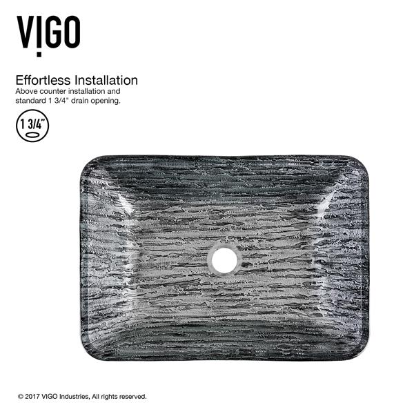 VIGO Titanium Vessel Bathroom Sink with Faucet - Chrome