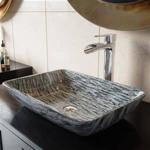 VIGO Titanium Vessel Bathroom Sink with Faucet - Chrome