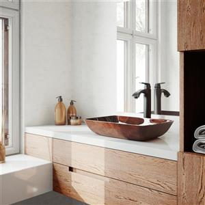 VIGO Glass Vessel Bathroom Sink with Faucet - 18-in - Bronze
